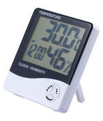 Thermometer Hygrometer Clock Digital Date With LCD Display 12/24 Hours Alarm