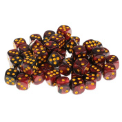 Sharplace 50x Board Game Black Red Dices Die D6 Dot for D & D MTG RPG Gaming Lovers Gift