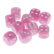Sharplace Pack of 10 Pink Plastic Spot Dices D6 for Board Card Game Dices RPG MTG Parts DIY 1.6cm