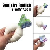 BBsmile-Cute Radish Squishy Scented Squishy Slow Rising Squeeze Toy Jumbo Collection Toy Cellphone Key Chain Charm Pendant Strap Kid Gift