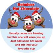 REINDEER HOT CHOCOLATE ROUND CHRISTMAS STICKERS ,LABELS X 24 MATT FINISH