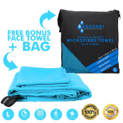 ABSORBI Microfibre Sports and Travel Towel | FREE Face Towel & Carry Pouch | LARGE [130 X 80 cm] | Antibacterial & Super Absorbent | Quick Dry for Yoga, Crossfit, Pilate, GYM, Sports, Camping, Golf, Hair, Beach, Swimming, Travel | Perfect gift for men, ..