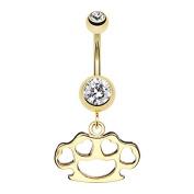 Golden Heart Brass Knuckle WildKlass Belly Button Ring