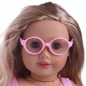 HKFV Unique Amazing Charming Sunglasses Design Toys For American Dolls Girls Decor Stylish Plastic Round Frame Glasses Sunglasses For 46cm Our Generation American Girl Doll
