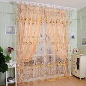 prelikes Tulip Flower Voile Curtain Drape Panel Room Sheer Home Door Window Decoration size 100cm x 200cm(On Rod)