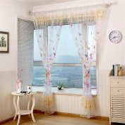 prelikes Butterfly Offset Print Window Curtains Drapes Panels Sheer Voile Tulle Shade Curtain size 100cm x 200cm