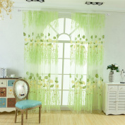 prelikes Door Window Sheer Flower Offset Print Drape Panel Balcony Curtain Scarf Valances size 100*270cm