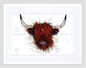 HIGHLAND COW PORTRAIT BLACK FRAME FRAMED ART PRINT PICTURE MOUNT B12X12619