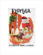TRAVEL FLORIDA DELTA AIRLINE APOLLO FUN VACATION HOLIDAY FRAMED PRINT B12X1574