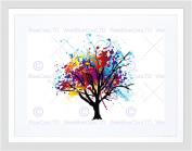 PAINTING ILLUSTRATION ABSTRACT COLOURFUL TREE SPLASH FRAMED ART PRINT B12X12881