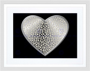 DIAMOND HEART SILVER BLING BLACK FRAME FRAMED ART PRINT PICTURE MOUNT B12X9307