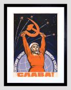 PROPAGANDA COSMONAUT GAGARIN USSR RED COMMUNISM FRAMED ART PRINT MOUNT B12X4451