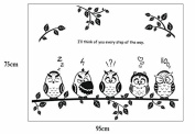 ZHJZ Children Bedroom Forest Owl Happy Family Wall Stickers