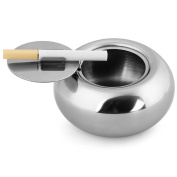 Fuloon Stainless Steel Windproof Ashtray with Lid Cigarette Ash Holder Desktop Smoking Ash Tray for Home office Decoration