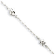 Sterling Silver 2mm Cable Chain and Sea Life Station Anklet, 9-10 Inch