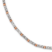 Rose Tone Sterling Silver 2mm Diamond Cut Beaded Anklet, 9-10 Inch