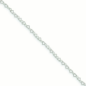 Sterling Silver 0.5mm Fancy Heart Link Anklet - 1.4 Grammes - 10 Inch - Spring Ring