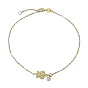 Bling Jewellery Gold Plated Nautical Turtle Anklet Solitaire CZ Charm Silver