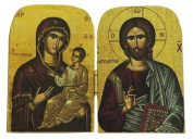 Diptych in Wood 7 x 4, 5 cm – Christ with Book Closed and Madonna of the Tenderness