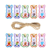 LUOEM Rabbit Photo Clips Note Memo Card Holder Wooden Pegs Clips Easter Party Favour 10pcs