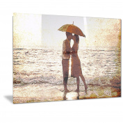 Design Art Baby Kiss by the Water Sensual Metal Wall Art-MT2913-28x12, 28x12