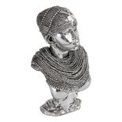 Burkina Home Decor Bust Africa M, Resin, Silver, 17 x 12 x 29 cm