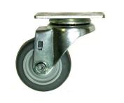 Swivel Caster with 7.6cm - 1.3cm x 2.5cm - 0.6cm Grey Rubber Wheel & Thread Guards 2-3156-442