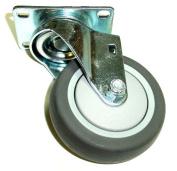 Swivel Caster with 10cm x 2.5cm - 0.6cm Dark Grey Rubber Wheel & Thread Guards 2-4156-442