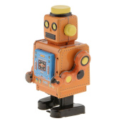 Sharplace Old-fashioned Wind Up Walking Robot Clockwork Mechanical Crafts Toy for Kids/Adults Collection Decoration