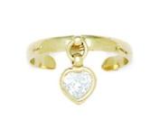 14k Yellow Gold Cubic Zirconia Adjustable Heart Drop Body Jewellery Toe Ring