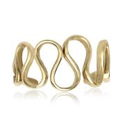 14k Yellow Gold Cubic Zirconia Adjustable Wavy Body Jewellery Toe Ring