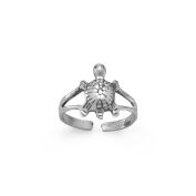 Oxidised Sterling Silver Turtle Toe Ring With Split Band Design Turtle Is 11mm X 7.5mm