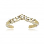 14k Yellow Gold Cubic Zirconia Adjustable V Shape Body Jewellery Toe Ring