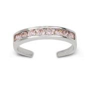 14k White Gold Pink Cubic Zirconia Adjustable Elegant Multistone Body Jewellery Toe Ring