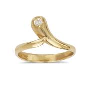 14k Yellow Gold Cubic Zirconia Top Adjustable Snake Shape Body Jewellery Toe Ring