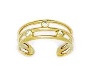 14k Yellow Gold Cubic Zirconia Adjustable Triple Row Body Jewellery Toe Ring