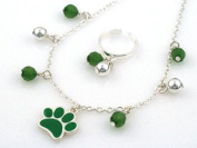 Dog Paw & Green Rhinestone Cable Link Anklet & Toe Ring Combo - Jewellery Nexus