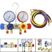 Tek Motion 4 Way AC Manifold Gauge Set R410a R22 R134a Quick Coupler 150cm Hose ACME Adapters