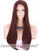 Chantiche L - Part Affordable Burgundy Long Lace Wigs for Women Natural Straight Synthetic Wig Wine Red Side Part Fibre Hair #99J