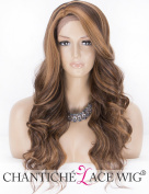 Chantiche L-Part Wavy Brown Wig Lace Front Long Synthetic Wigs for Women Highlights Side Part Half Hand Tied Hair