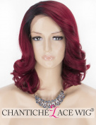 Chantiche L- Part Wavy Ombre Lace Front Wigs for women with Dark Roots Short Bob Synthetic Wig Burgundy lace wigs Half Hand Tied Heat Resistant #99J