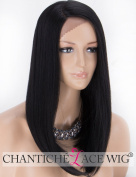 Chantiche L-Shape Natural Black Lace Front Wig Medium Length Straight Synthetic Wigs for Women Side Part Fibre Hair #1B