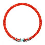 Cristina Sabatini Amazonite & White Topaz Rope Scroll Coral Red Stingray Choker in Sterling Silver