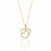 10k Yellow Gold Double Heart Cubic Zirconia Pendant Necklace with Spring-ring Clasp with Singapore Chain for Women and Girls