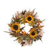 Sunflower Feather Succulent Twig Wreath 60cm