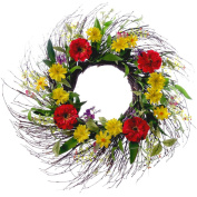 Summer Collection 60cm Mixed Daisy and Twig Wreath