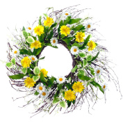 Spring Collection 60cm Mixed Daisy and Twig Wreath