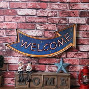 Ruyi & Jixiangled lights American retro wrought iron wall decoration Welcome to the wall decoration coffee shop bar decoration