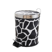 Black and white striped plastic trash cans, household kitchen living room foot trash 8L