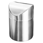 Modern desktop trash can, stainless steel clamshell mini trash can